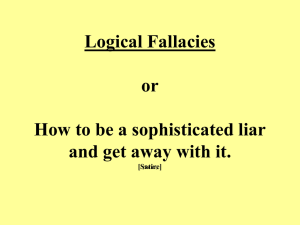 Logical Fallacies Just a few ways that people can lie to other people