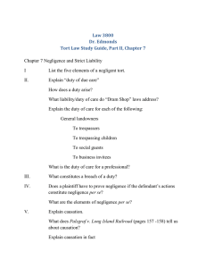 Study Guide, Tort Law, Part II, Chapter 7