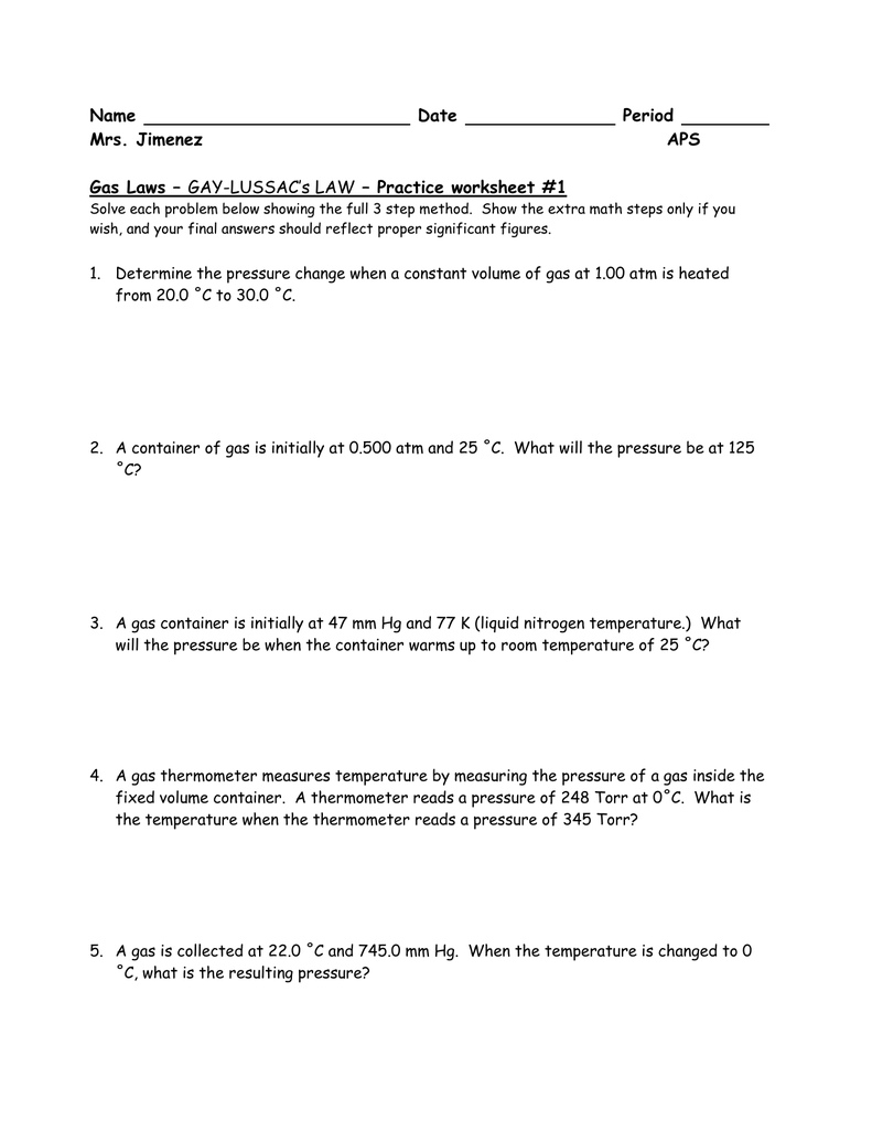 worksheet Combined Gas Laws Worksheet gay lussac worksheetproblems