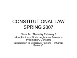 CONSTITUTIONAL LAW SPRING 2007