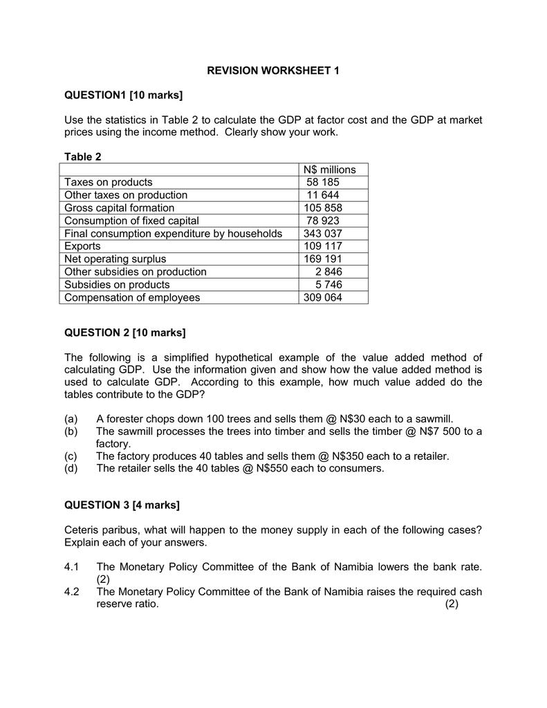 Revision Worksheet 1 (2015)