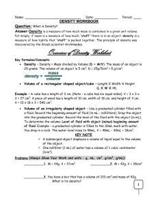 Density Worksheet with Note