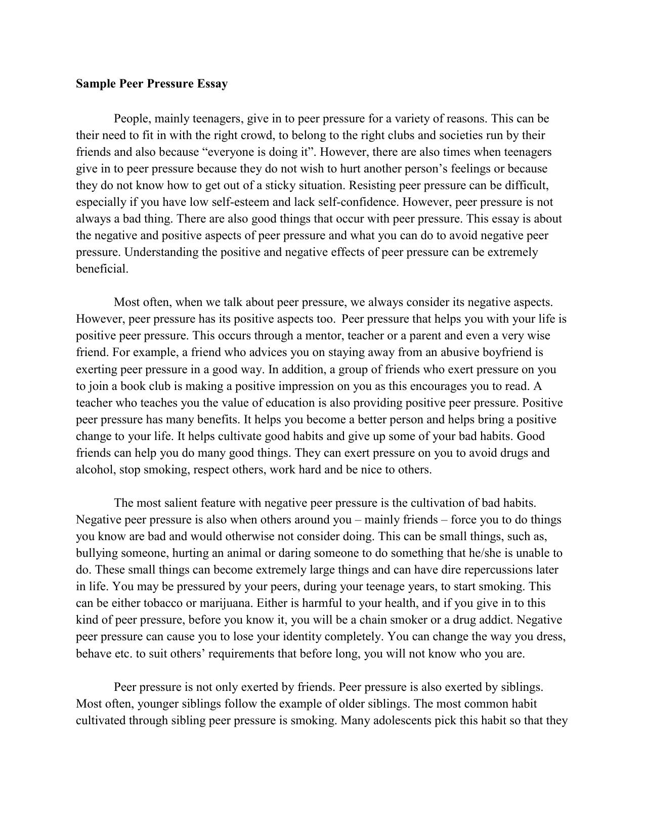 Sample Peer Pressure Essay