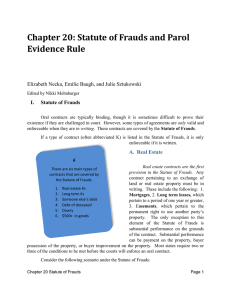 Ch. 20. Statute of Frauds and the Parol Evidence Rule