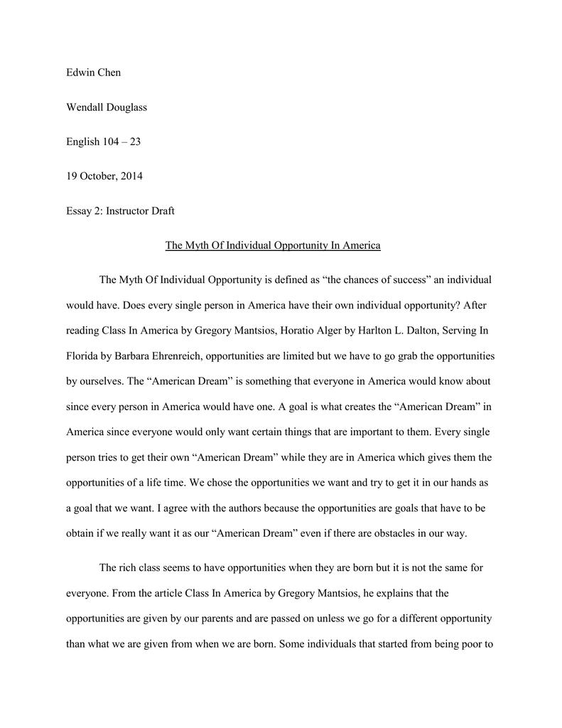 response to horatio alger of h l dalton essay