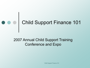 Child Support Finance 101 - CHILD SUPPORT DIRECTORS