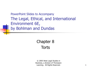 PowerPoint Slides to Accompany The Legal, Ethical, and