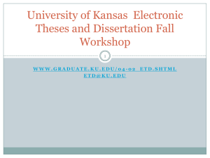 University of Kansas Electronic Theses and Dissertation Fall