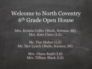 Welcome to North Coventry 6th Grade Open House