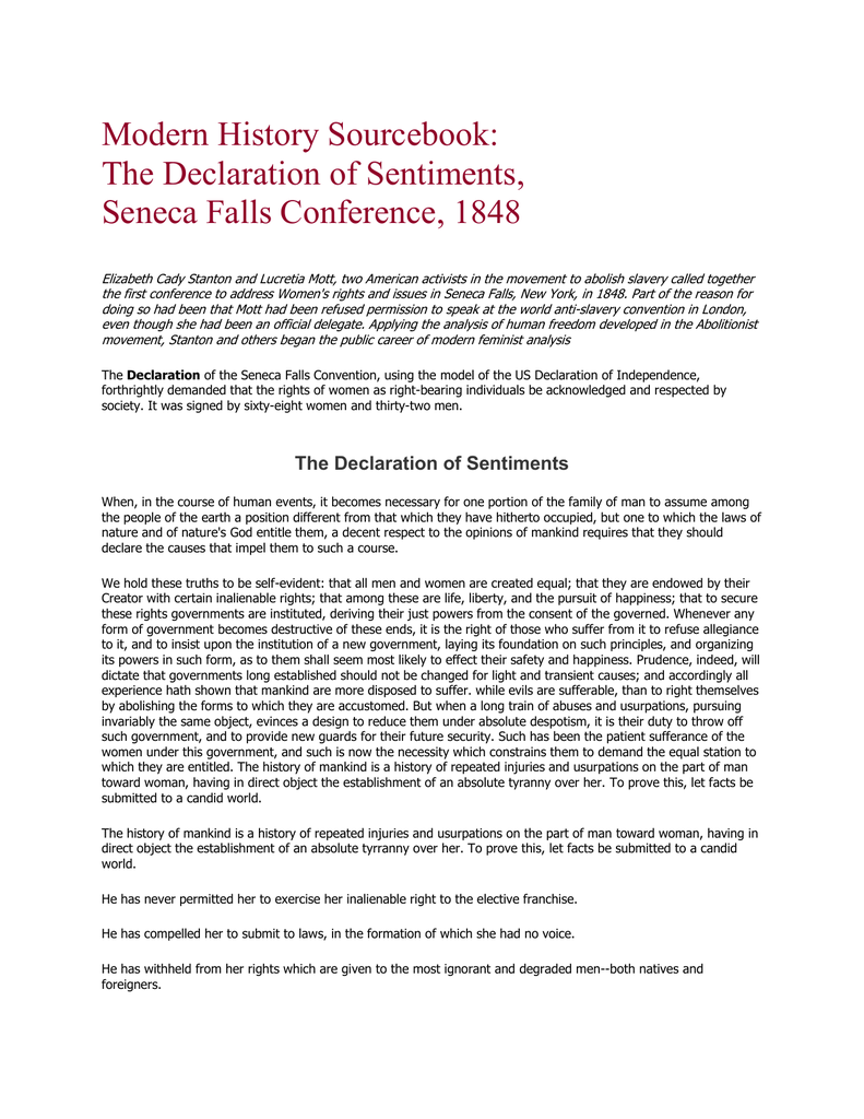 declaration of rights and sentiments