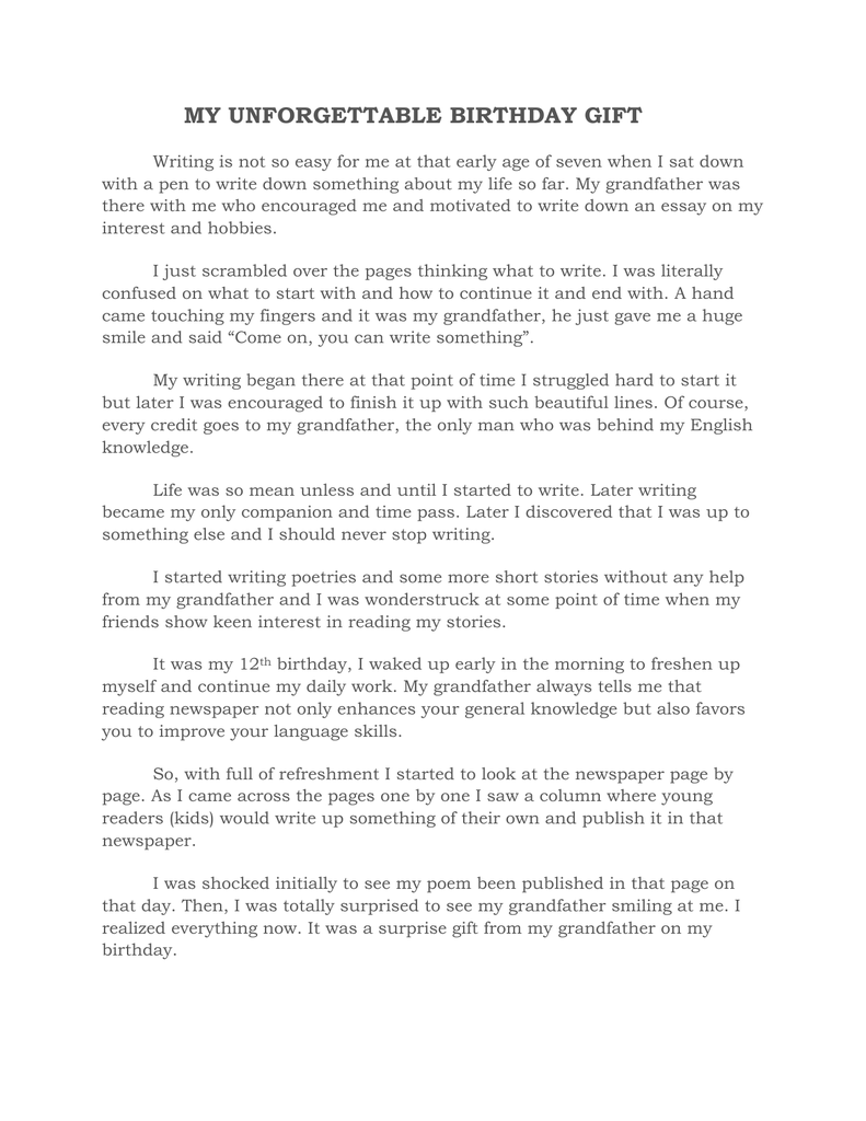 essay on my birthday birthday