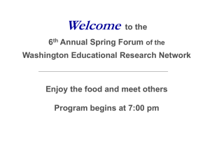 May 11 WERN Intro - Washington Educational Research