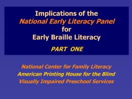 Implications of the National Early Literacy Panel