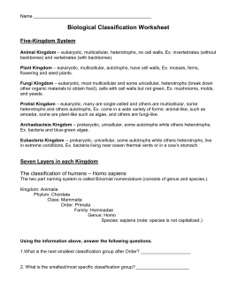 Biological Classification Worksheet: Biological Classification Worksheet Five,