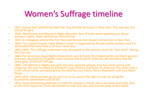 Women's Suffrage timeline - Bridgey