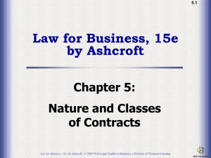 Ch05: Nature and Classes of Contracts