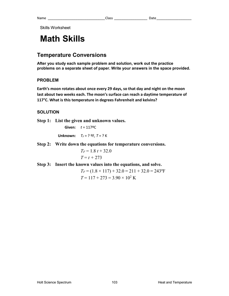 Worksheets Holt Science Spectrum Worksheets math skills temperature