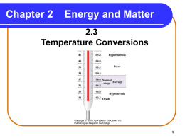 Chapter 2, section 2.3 - Temperature Conversions