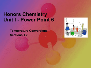 Honors Chemistry Unit I - Power Point 6 Temperature Conversions