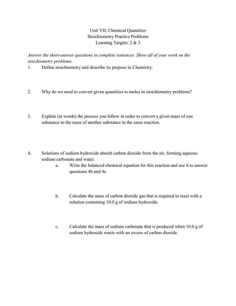 worksheet Stoichiometry Practice Problems Worksheet stoichiometry practice problems