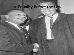 IV. Equality Before the Law