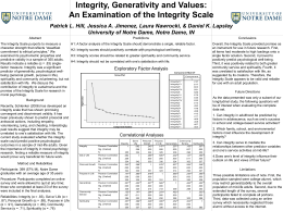 Integrity, Generativity and Values: An