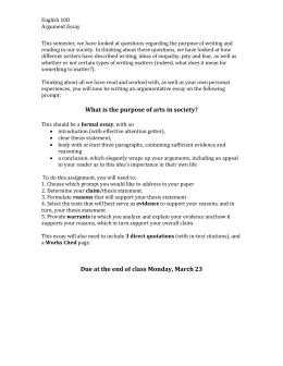Argumentative assignment doc Essay