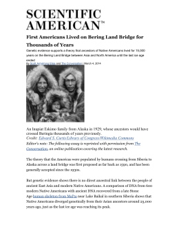 First Americans Lived on Bering Land Bridge for