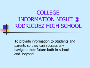 SOPHOMORE AND JUNIOR INFORMATION NIGHT