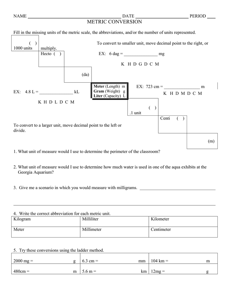 Worksheet Metric Conversion Worksheet With Answers Grass