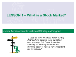 LESSON 1 – What is a Stock Market?