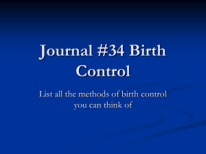 Journal #34 Birth Control