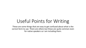 Useful Points for Writing