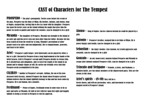 CAST of Characters for The Tempest