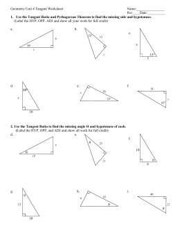 Printables Tangent Ratio Worksheet trigonometric functions in right triangles geometry tangent ratio worksheet
