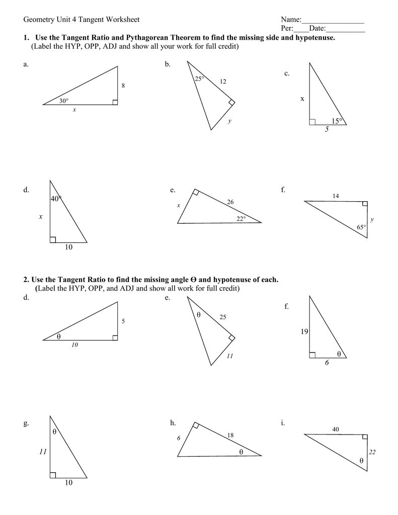 Worksheets Soh Cah Toa Worksheet geometry tangent ratio worksheet