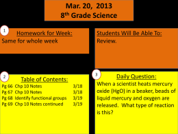 Mar. 20, 2013 8 th Grade Science Students Will Be Able To