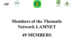 Welcome Address - Latin America Thematic Network on Bioenergy