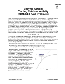 enzyme lab report abstract Catalase is an enzyme, a biological (organic) catalyst hydrogen peroxide is the substrate for catalase the general procedure for the lab is outlined below, and specific details for each.