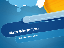 Math Workshop - Mrs. Marino's Teachery