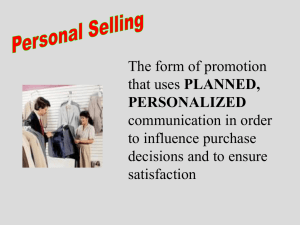 Marketing a Small Business Personal Selling Presentation 3