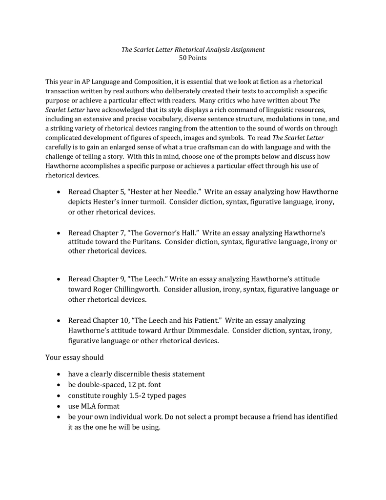 rhetorical essay format write an essay that analyzes the theme of  the scarlet letter rhetorical analysis assignment 50 points this rhetorical essay format