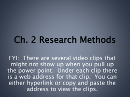 Ch. 2 Research Methods