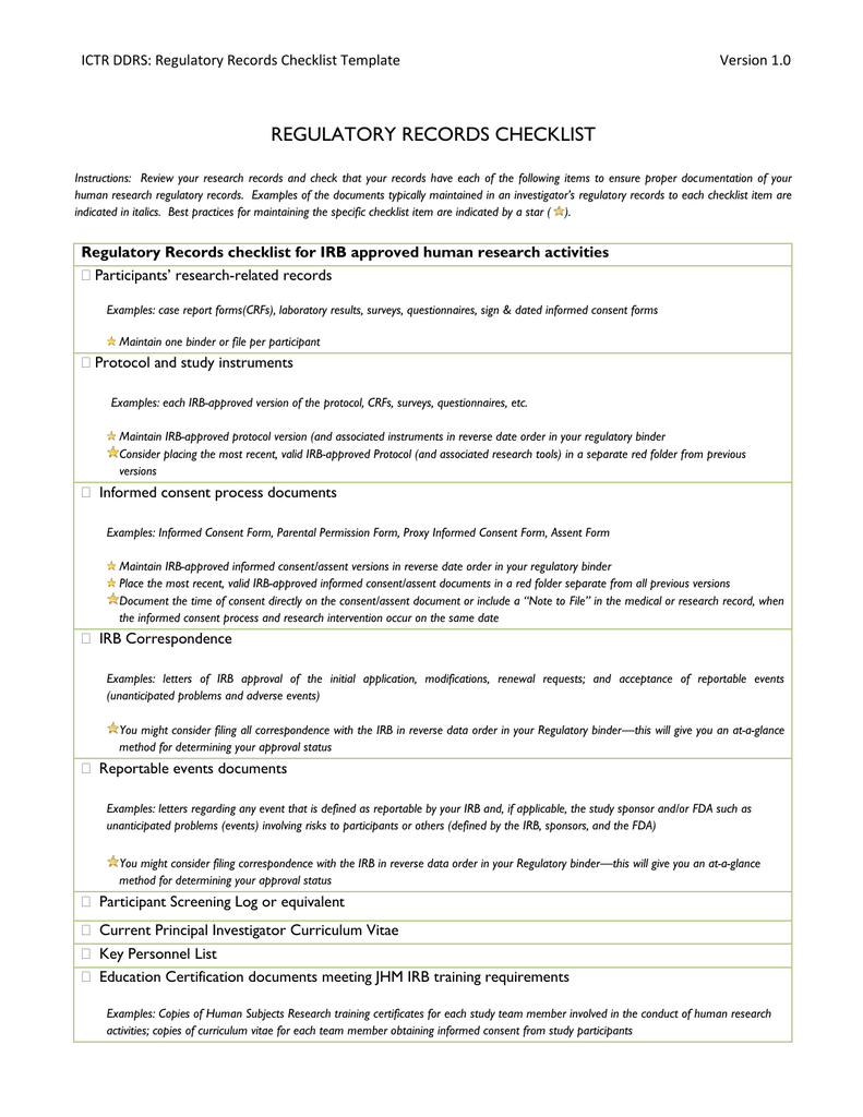 Regulatory Records Checklist Template - Informed consent process documentation template