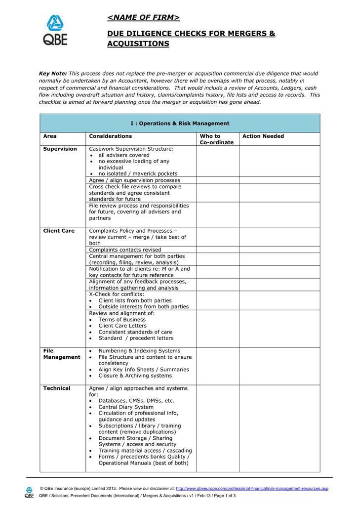 Mergers & Acquisitions Checklist