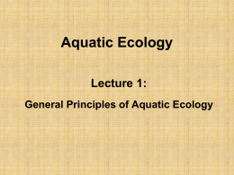 Aquatic Ecology_Lecture1 - Department of Animal Production