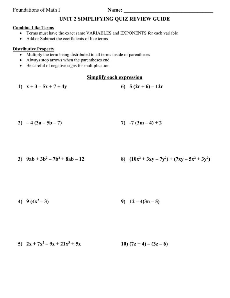 Algebra I Distributive Property Worksheet