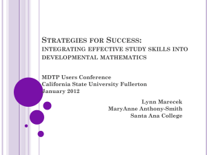 Strategies for Success - MDTP - California State University, Fullerton