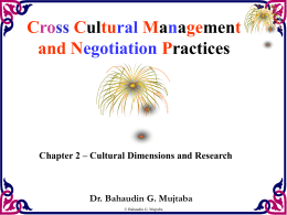 Cultural Dimensions and Research Cross Cultural