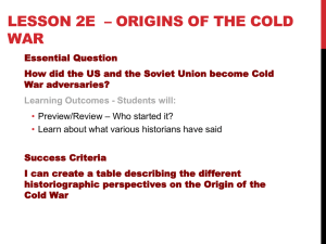 Lesson 2b * Origins of the Cold War